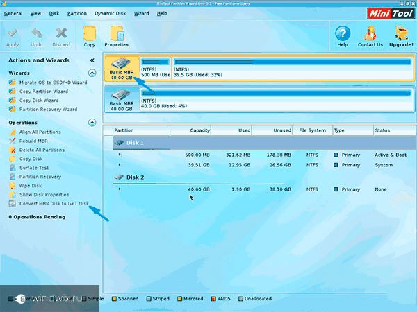 Convert MBR Disk to GPT