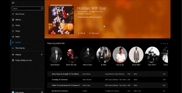 Как найти свою любимую праздничную музыку с  Microsoft Groove